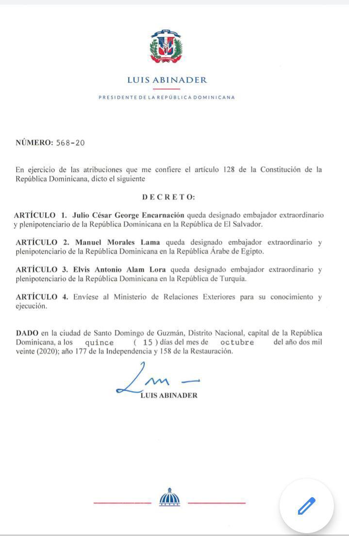 Luis Abinader designa embajadores en El Salvador, Egipto y Turquía - El  Pregonero